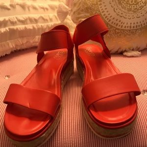 Franco Sarto red wedge sandals